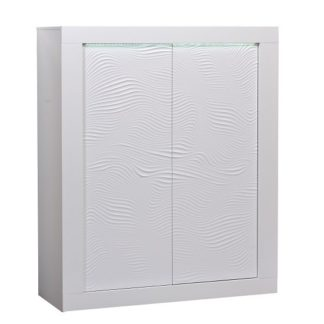 An Image of Carmen Highboard In White Gloss With 4 Doors And LED Lighting