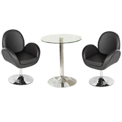An Image of Vetro Bistro Table In Clear Glass Top With 2 Ego Black Bar Stool