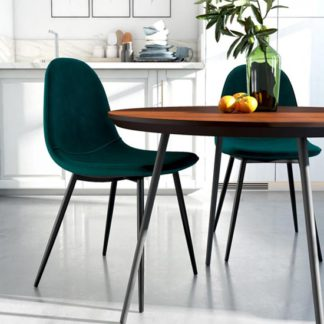 An Image of Calvin Green Velvet Dining Chairs In Pair