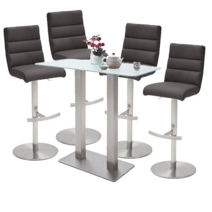 An Image of Soho Glass Bar Table With 4 Hiulia Anthracite Leather Stools
