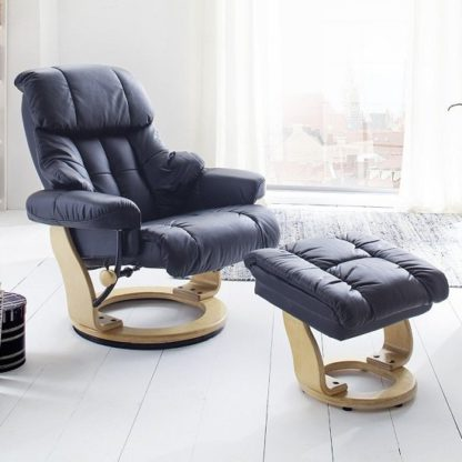 An Image of Calgary Relaxing Chair In Black Leather And Oak With Foot Stool