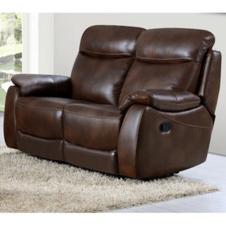 An Image of Canton Recliner 2 Seater Sofa In Tan Faux Leather