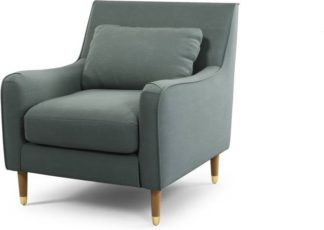 An Image of Content by Terence Conran Oksana Armchair, Athena Dark Grey with Light Wood Brass Leg