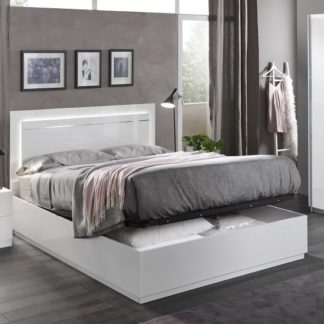 An Image of Abby King Size Ottoman Bed In White High Gloss And Lights