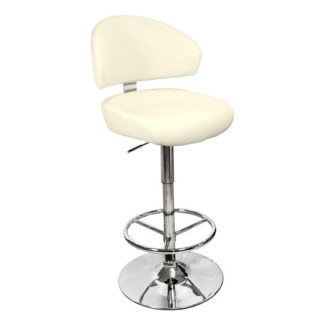 An Image of Casino Cream Leather Bar Stool With Chrome Base