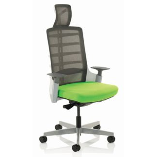 An Image of Exo Charcoal Grey Back Office Chair With Myrrh Green Seat