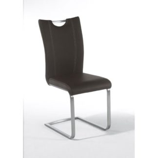 An Image of Pavo Swinging Brown Faux Leather Dining Chair With Handle Hole