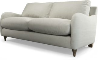 An Image of Custom MADE Sofia 2 Seater Sofa, Plush Silver Velvet with Light Wood Legs