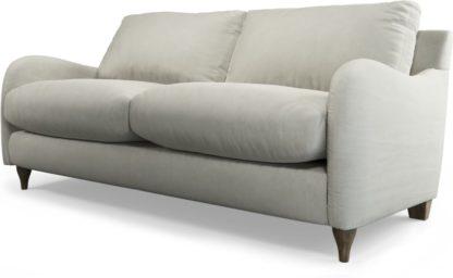 An Image of Custom MADE Sofia 2 Seater Sofa, Plush Silver Velvet with Light Wood Legs