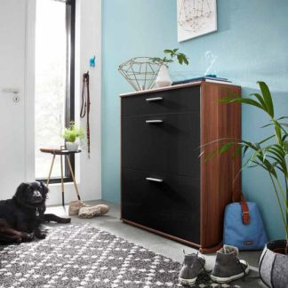 An Image of Big Foot Shoe Cabinet In Walnut With Black High Gloss Fronts