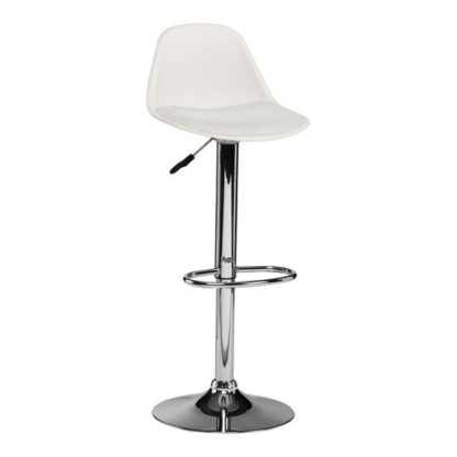 An Image of Xian Bar Stool In White Faux Leather Seat And Chrome Base