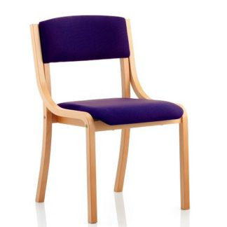 An Image of Charles Office Chair In Purple And Wooden Frame
