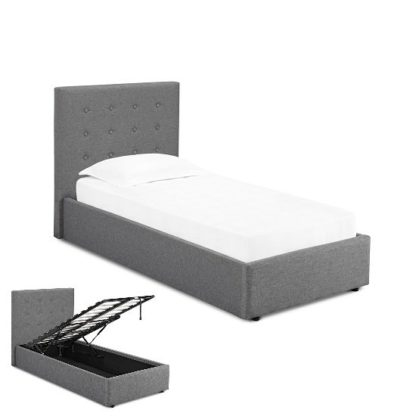 An Image of Rother Single Storage Bed In Upholstered Grey Fabric