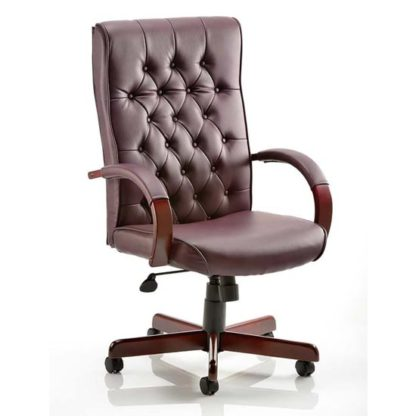 An Image of Chesterfield Leather Office Chair In Burgundy With Arms