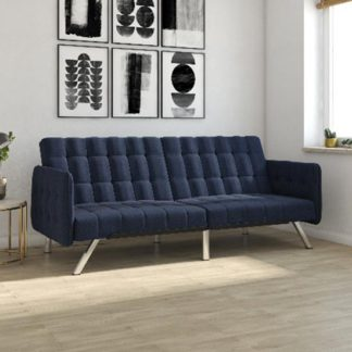 An Image of Emily Leather Convertible Clic Clac Sofa bed In Navy Linen Blue