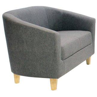 An Image of Leporis Linen Fabric 1 Seater Sofa In Dark Grey