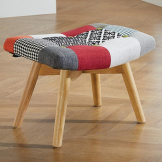 An Image of Sloane Fabric Foot Stool In Patched