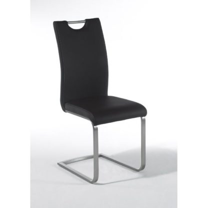 An Image of Paulo Black Faux Leather Dining Chair With Handle Hole