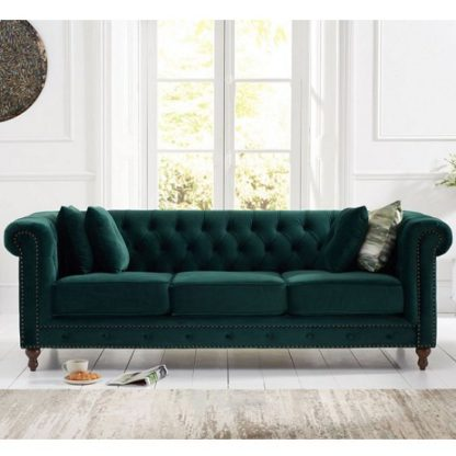An Image of Mentor Modern Fabric 3 Seater Sofa In Green Plush