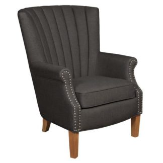 An Image of Bexley Fabric Lounge Chaise Armchair In Charcoal