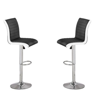 An Image of Ritz Bar Stools In Black And White Faux Leather In A Pair
