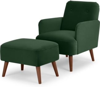 An Image of Elvi Accent Armchair and Footstool, Pine Green Velvet