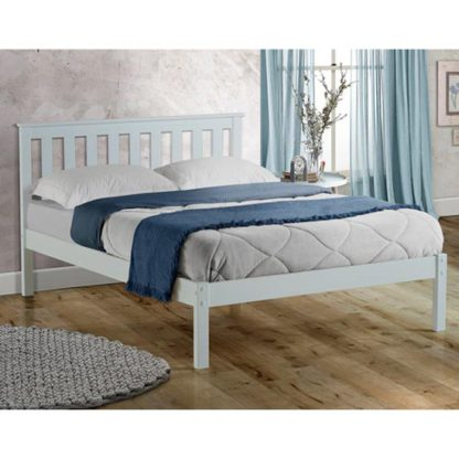 An Image of Denver Wooden Low End King Size Bed In White