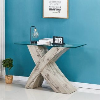An Image of Xanti Glass X Base Console Table In Clear With Grey Oak Effect