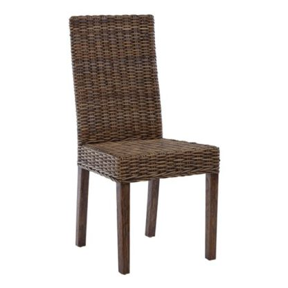 An Image of Helvetios Kubu Rattan Dining Chair In Brown