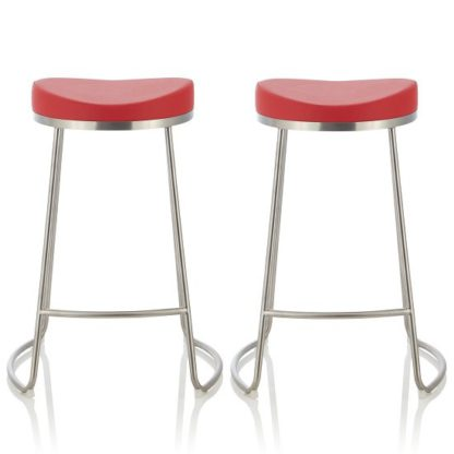 An Image of Seraphina Bar Stool In Red Faux Leather In A Pair