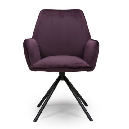 An Image of Uno Velvet Fabric Dining Chair In Mulberry