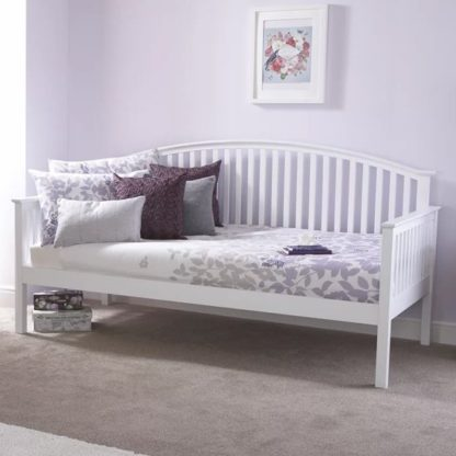 An Image of Madrid Wooden Single Day Bed In White