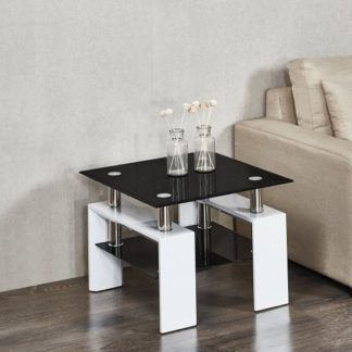 An Image of Kontrast Side Table In Black Glass And High Gloss White Legs