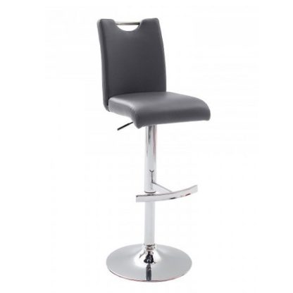 An Image of Aachen Bar Stool In Grey Faux Leather With Chrome Base