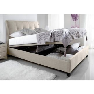 An Image of Evelyn Fabric Ottoman Storage King Size Bed In Oatmeal