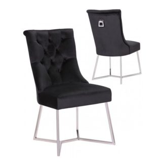 An Image of Bari Black Velvet Dining Chairs In Pair