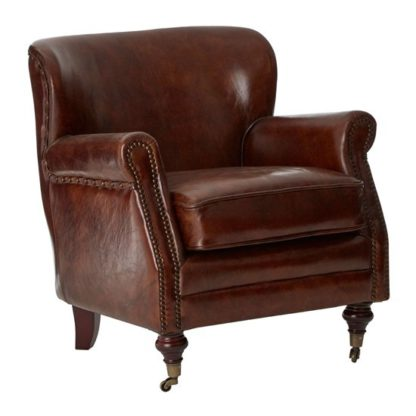 An Image of Sadalmelik Leather Classic Armchair In Mocha Brown