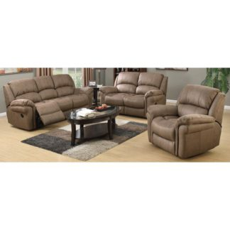 An Image of Lerna Fabric 3 Seater Sofa And 2 Armchairs Suite In Taupe