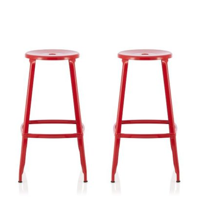 An Image of Bryson 76cm Metal Bar Stools In Red In A Pair