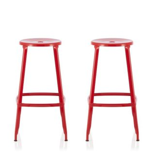 An Image of Bryson 66cm Metal Bar Stools In Red In A Pair