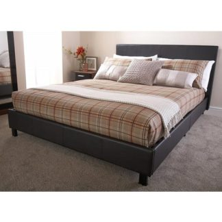 An Image of Alioth Faux Leather Double Bed In Brown