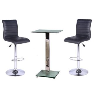 An Image of Spice Bar Table In Clear Glass With 2 Black Ripple Bar Stools