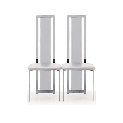 An Image of Nicole Dining Chair In White Faux Leather in A Pair