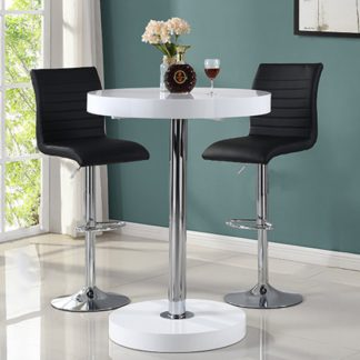 An Image of Havana Bar Table In White With 2 Ripple Black Bar Stools