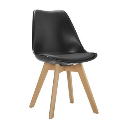 An Image of Sigmon Dining Chair In Matt Black PU Seat With Solid Beech Legs