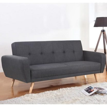 An Image of Durham Fabric Sofa Bed Large In Grey With Wooden Legs