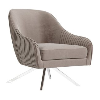 An Image of Bianca Velvet Fabric Swivel Lounge Chair In Mink