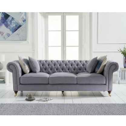 An Image of Holbrook Chesterfield 3 Seater Sofa In Grey Linen