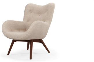 An Image of Custom MADE Doris Accent Armchair, Shetland Pink with Dark Wood Legs