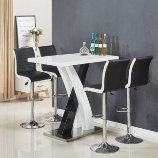 An Image of Axara Bar Table In White Black Gloss With 4 Ritz Black Stools